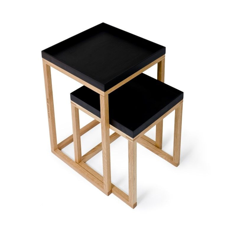 Side Tables Nest Set of 2   Black & Oak