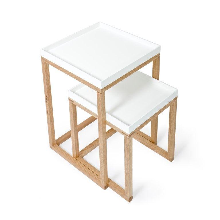 Side Tables Nest Set of 2   White & Oak