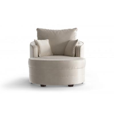Set Schwenkbarer Sessel und Hocker Sentier Uni | Creme-Samt Touch