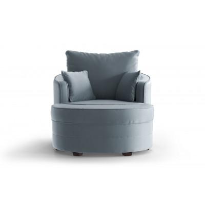 Set Schwenkbarer Sessel und Hocker Sentier Uni | Hellblau-Samt Touch