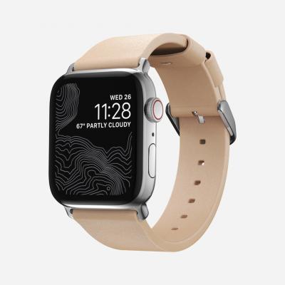 Modernes Slim Apple Watch Armband | Naturleder / Silber