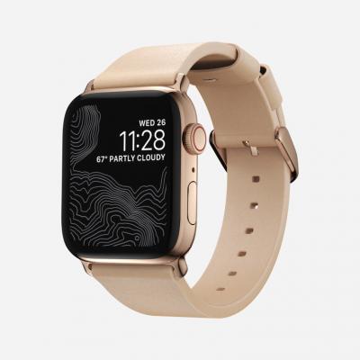 Modernes Slim Apple Watch Armband | Naturleder / Gold
