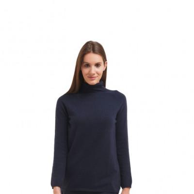 Rollkragenpullover mit langen Ärmeln für Frauen | Marineblau