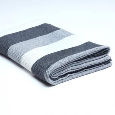 Überwurf Wollstrick | Dunkelgrau / Medium Grau / Creme