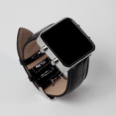 Digital Watch | Silver, Black Leather Bracelet