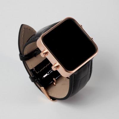 Digital Watch | Rose Gold, Black Leather Bracelet