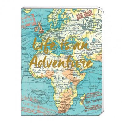Notizbuch Vintage Map A6   Weicher Einband   Blau