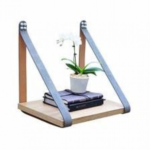 Suede Leather Strap Sidetable Shelf | Silver Grey