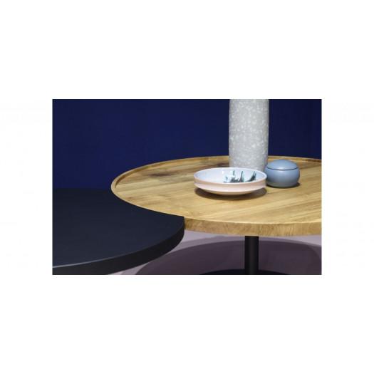 KOMBI Coffee Table Set of 2 | Black Matt & Oak