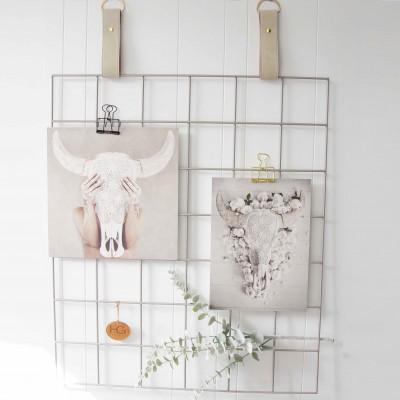 Silver Grid Mood Board   Cream Suede Leather