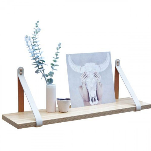 Suede Leather Strap Shelf | Pine