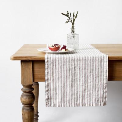 Tischläufer 150 x 40 cm | Natürlicher Streifen