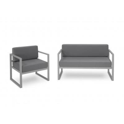 Zweisitzer Sofa & Sessel Set Nicea | Graues Gestell & Dunkelgrau