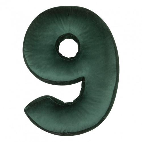 Cushion Number Velvet Green | 9