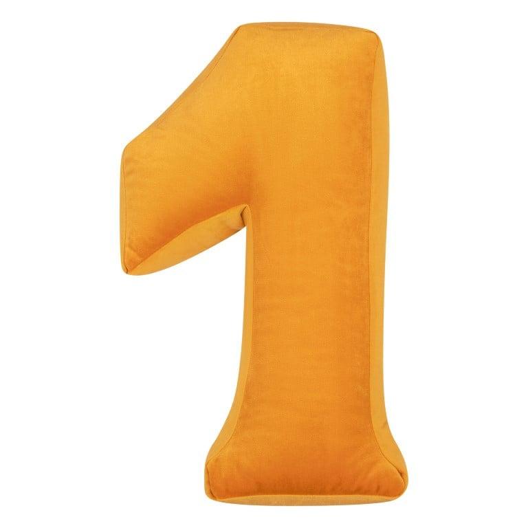 Cushion Number Velvet Yellow   1