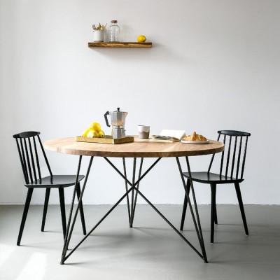 Oak Steel Table Round