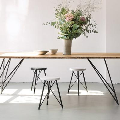 Tisch Eiche und Stahl 220 x 90 cm