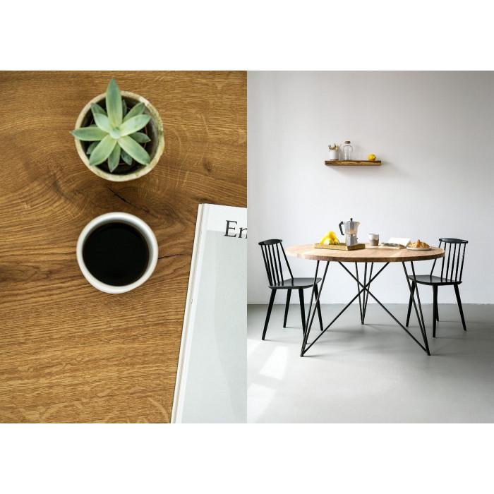 Tisch Eiche und Stahl Rund