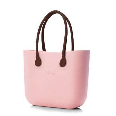 O Tasche braune Ledergriffe   Pink