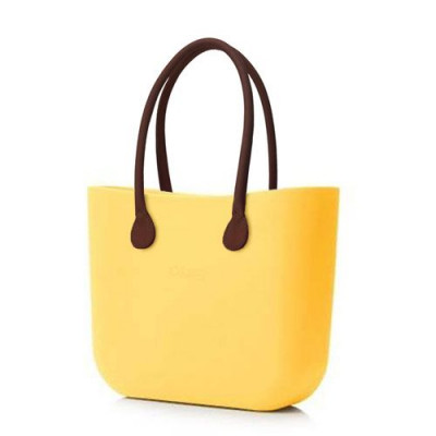 O Tasche braun Ledergriffe   Soft Yellow