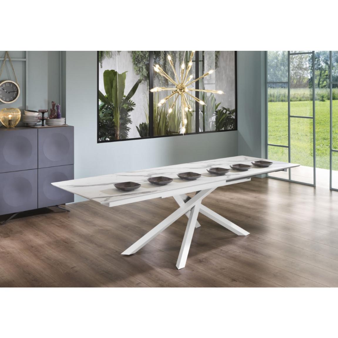 Verlängerbarer Tisch   Marmor & Weiß