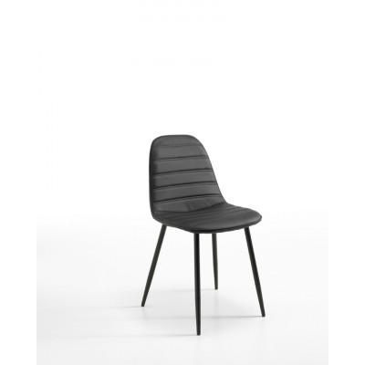 Stuhl Kunstleder 4er-Set | Schwarz
