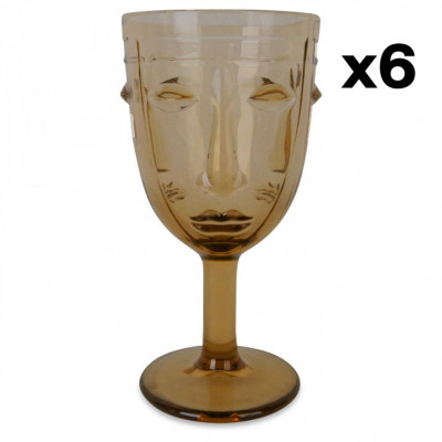 Wine Glass Face Set of 6   Amber