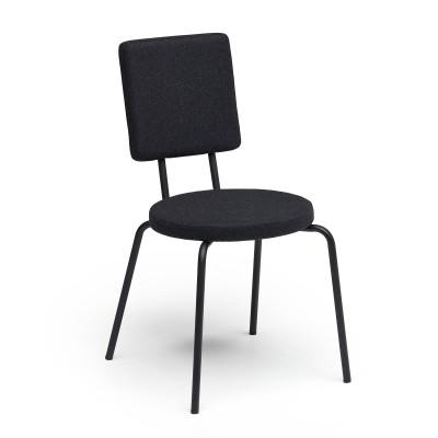 Black   Round Seat, Square Backrest