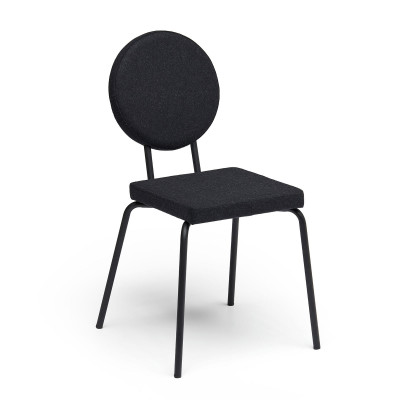 Black   Square Seat, Round Backrest