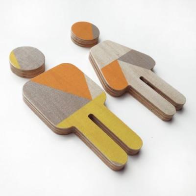 Kinder-WC-Schild Sperrholz | Gelb-Orange-Grau