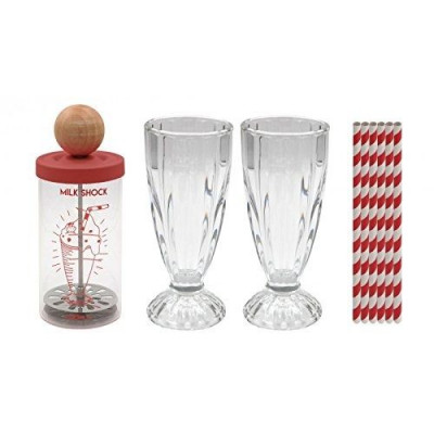 Milchshake-Shaker mit 2 Gläsern & 6 Strohhalmen