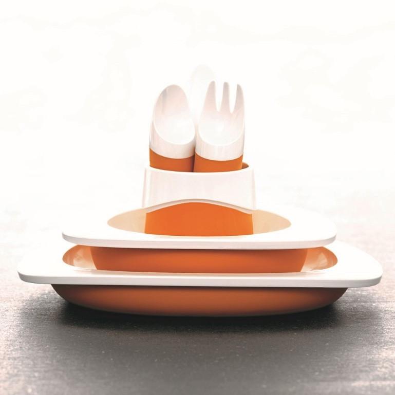 Teller, Schüssel, Tasse und Kinderbesteck | Orange