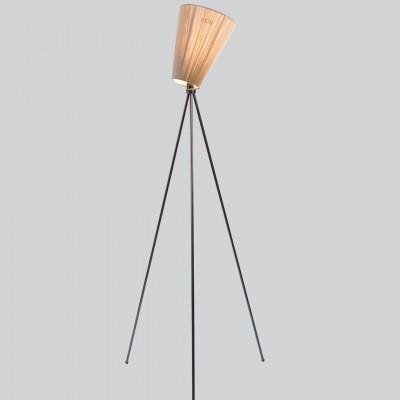 Lampe Oslo Holz | Beige Schirm und Schwarze Füße