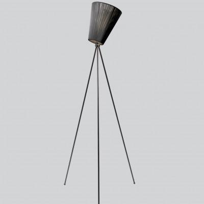Lampe Oslo Holz | Schwarzer Schirm und Schwarze Füße