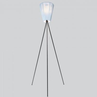 Lampe Oslo Holz | Blauer Schirm und Schwarze Füße