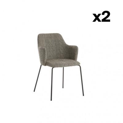 2er-Set Stühle Oslo | Schwarzes Karo