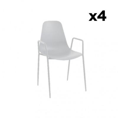 4-er Set Sessel Oslo | Weiß