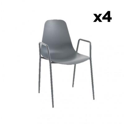 4-er Set Sessel Oslo | Grau