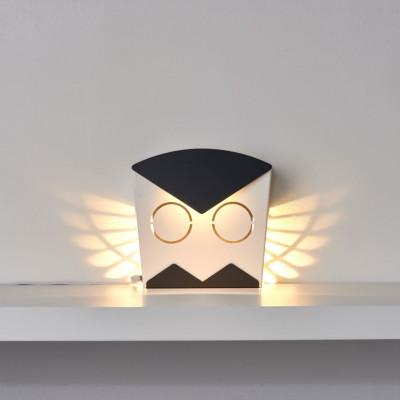 Wall Light Owl   Aluminium   Black Plug