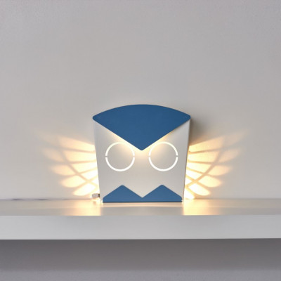 Wall Light Owl   Aluminium   Blue Plug