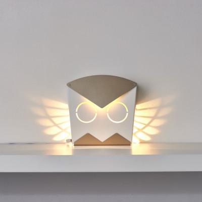 Wall Light Owl   Aluminium   Gold Plug