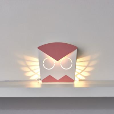 Wall Light Owl   Aluminium   Pink Plug