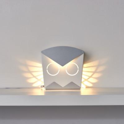 Wall Light Owl   Aluminium   Silver Plug