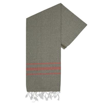Hammam Handtuch Streifen Vibe | Khaki-Brick
