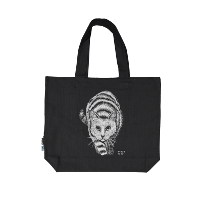 Reflektierende Stofftasche Kat   Schwarz