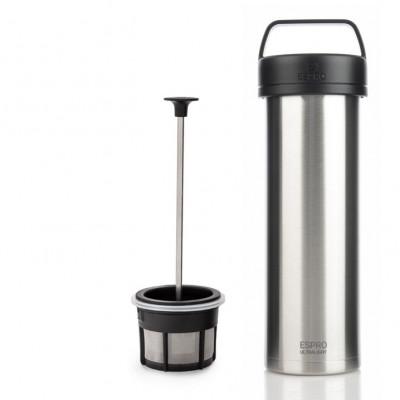 Reise-French-Press mit Kaffeefilter P0 Ultraleicht 475 ml | Edelstahl