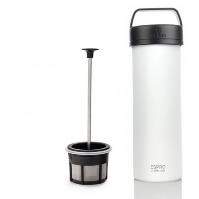 Reise-French-Press mit Kaffeefilter P0 Ultraleicht 475 ml | Weiß