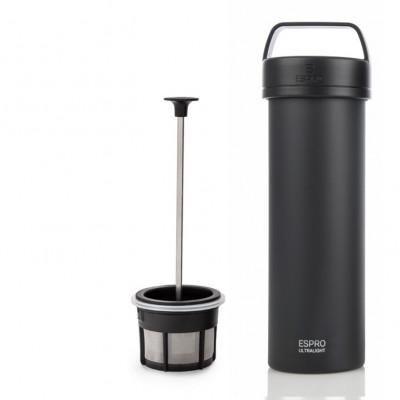Reise-French-Press mit Kaffeefilter P0 Ultraleicht 475 ml | Schwarz Matt