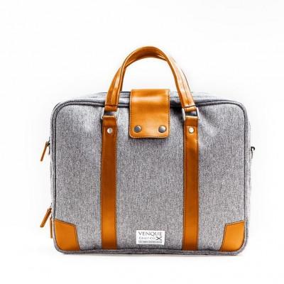 Hamptons Briefcase | Grey & Tan