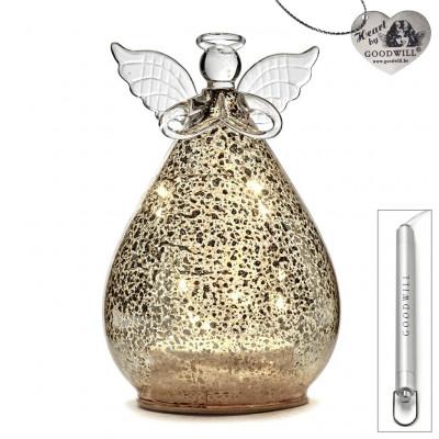 LED Deko-Engel aus Glas 15 cm Antique